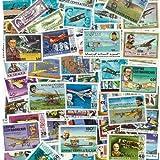 Briefmarken-Sammlung Flugzeuge, abgestempelte Marken, verschiedene Motive, 100 Stück
