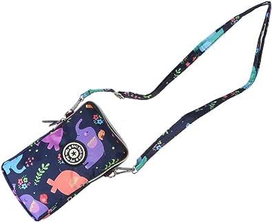 Fenical borsa per telefono con cerniera motivo floreale borsa a tracolla moda borsa per cellulare da donna collo appeso borse per shopping di viaggio (elefante colorato)