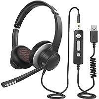 PC Headset mit Mikrofon, USB / 3,5 mm Headset mit Noise Cancelling & knackiger Stereosound, Headset Handy für Skype Zoom…