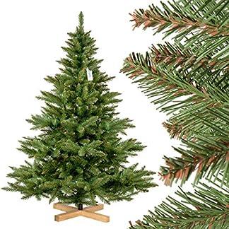 FairyTrees Árbol de Navidad Artificial Abeto NORDMANN, el Tronco Verde, Material PVC, el Soporte de Madera, 150cm, FT14-150