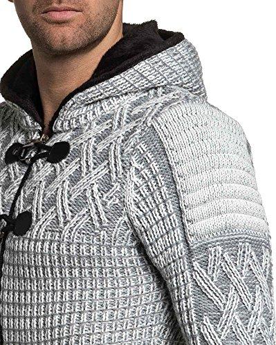 BLZ jeans - Gilet homme hiver écru à capuche fourrure Ecru