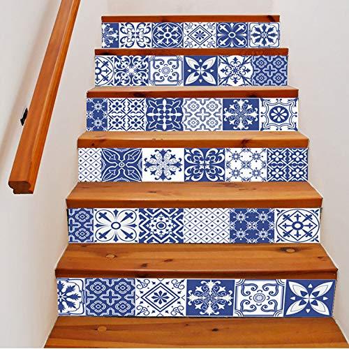 Treppenaufkleber Porzellan-Muster-Fliesen-Wand-Treppen-Aufkleber-Pvc-Entfernbares Wasserdichtes Tapeten-Keramisches Wandplakat Für Haupttreppendekor 3D -