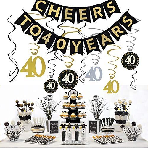 JeVenis 40th Birthday Party Decorations Kit Prost auf 40 Jahre Banner-Feier 40 hängende Strudel für 40 Jahre alt Party Supplies 40. Jahrestag Dekorationen (Geburtstag Feier Ideen 40th)