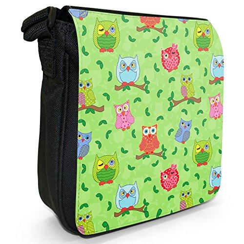 Big Eye-Carta da parati, motivo: gufo, colore: nero, Borsa a tracolla in tela, taglia: S Winking Dotty Owls With Leaves