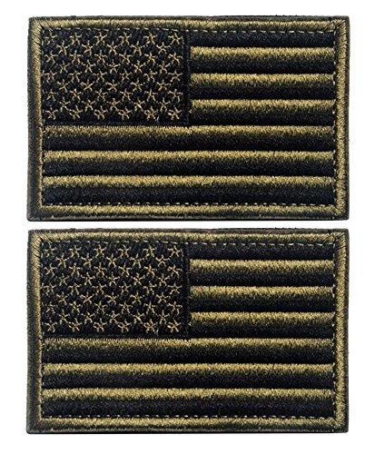 Tacvasen –Aufnäher mit amerikanischer Flagge - USA-Aufnäher, 2 Stück, Herren, armee-grün (Herren-usa-amerikanische Flagge)