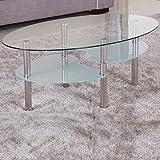 Couchtisch 98x58cm klar Glas Ablage satiniert Sicherheitsglas Beistelltisch Wohnzimmertisch Tisch Sofatisch Glas Loungetisch Ziertisch Chrom Gestell verchromt Modern Klarglas