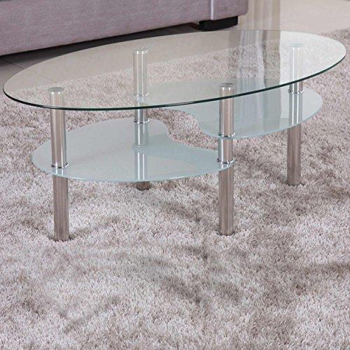 Couchtisch 98x58cm 3 Modelle schwarz klar satiniert Sicherheitsglas Chrom Gestell Beistelltisch Wohnzimmertisch Glas Tisch Sofatisch Glas Loungetisch Ziertisch verchromt Modern Klarglas Schwarzglas