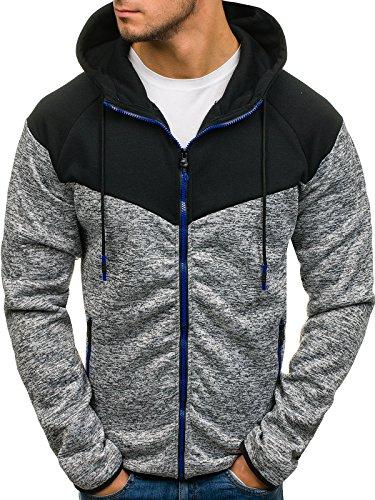 BOLF Herren Kapuzenpullover Hoodie Sweatjacke Sweatshirt Outdoor J.Style DD76 Grau M [1A1]