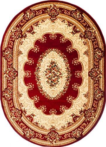 Traditionelle Ovale Teppich (Tapiso Yesemek Teppich Oval Kurzflor Klassisch Gemustert Oriental Floral Ornament Rot Creme Bordüre Schlafzimmer Wohnzimmer ÖKOTEX 70 x 140 cm)