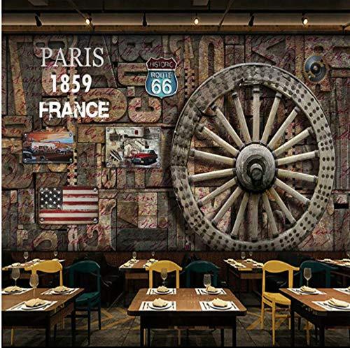 Keshj Murale Carta Da Parati 3D Retrò In Legno Nostalgico Texture Plancia In Legno Ruota Classica Auto Sfondo Per Ristorante Bar Parete-350cmx245cm