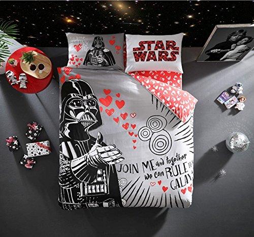 Wars Star Quilt Set (Original lizenzierte Star Wars Valentine 's Day Bettbezug Set, 100% Baumwolle, doppelte Größe, 4Stück)