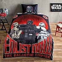 Original Star Wars Rojo Negro Juego de Funda Nórdica, Para cama individual de 90 a 105 cm, 100% algodón, 3 Piezas