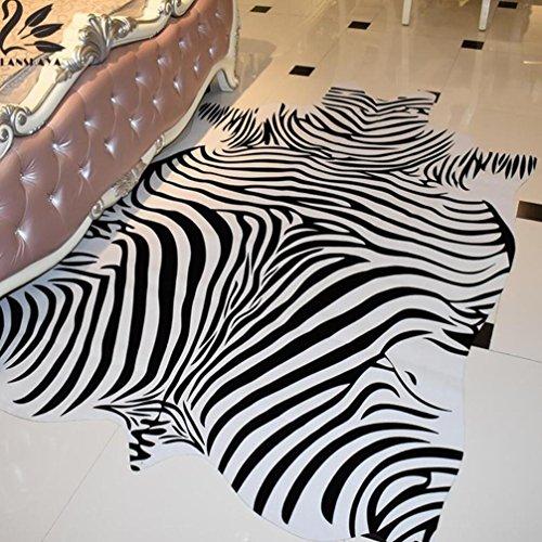 Lanskaya cebra rayas negro blanco vaca de forma natural alfombra de piel sintética piel de vacuno alfombra para salón decoración