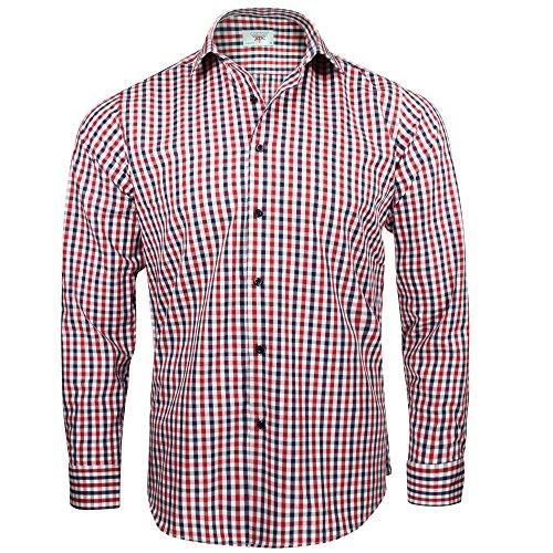 Captain Slim Fit Herren Hemden (in 24 Verschiedenen Farben) Langarm-Hemd 100% Baumwolle (XXL, Navy-Rot (Kariert))