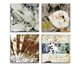 4 Bilder Set Abstrakt Muster Grautöne Kunst Farbklecks