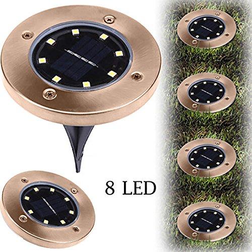 sunnymi 8 LED Solar Leistung Begraben Licht Beleuchtung Warmweiß Boden Lampe Draussen Kugelleuchte Solarlampe Außen Kieselstein Gartenleuchten Pfad Weg Garten (Gold, 8 LED)