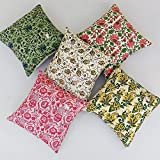 Worldoftextile Hand Block Print Premium Cushion Cover Set Of 5- Multicolor Cotton Cushion Cover