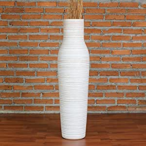 Leewadee Grand Vase Décoratif, 20x75 cm, Bois, White Wash