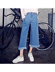 Chicas coreanas primavera bordes sueltos pierna ancha recortada pantalones vaqueros,M,Azul