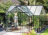 Gartenwelt Riegelsberger Gewächshaus Sirius Orangerie - ESG 3 mm schwarz, Fläche: ca. 13 m², mit 4 Dachfenster, inkl. Stahlfundament 6 cm hoch, Sockel: 3,81 x 3,81 m