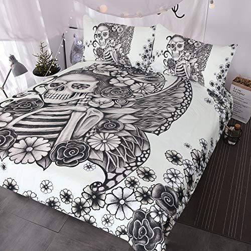 JSDJSUIT Bettwäsche gesetzt Gotisches Schädel-Bett-Set Retro Schmetterling Rose Skull Tröster Cover 3 Stück Schwarz-Weiß-Skelett-Tagesdecke Vintage Bettwäsche Duvet-Twin-Set 4tlg -