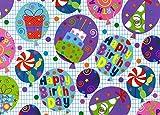 Les Couleurs de l'Emballage 3504RU50M Beaumont Geschenkpapier Rolle mit Geburtstagsmotiv, 50 m x 70 cm