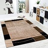 Alfombra De Diseño Para Sala De Estar Alfombra Con Bordura Moderna Marrón Beige, Grösse:120x170 cm