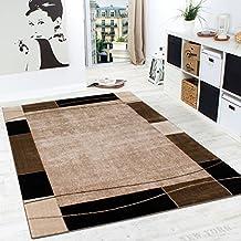 Alfombra De Diseño Para Sala De Estar Alfombra Con Bordura Moderna Marrón Beige, Grösse:160x220 cm