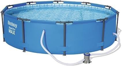Bestway Steel Pro MAX Frame Pool Set, rund Stahlrahmenpool-Set mit Filterpumpe, blau