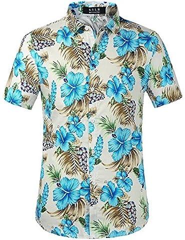 SSLR Men's Flower Casual Button Down Short Sleeve Shirt (Medium, Blue Hibiscus)