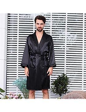 SUxian Gran Albornoz de los Hombres de Manga Larga Bata de Dormir camisón Pijama Negro
