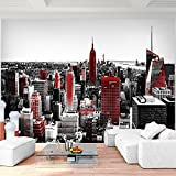 Fototapete New York Rot Vlies Wand Tapete Wohnzimmer Schlafzimmer Büro Flur Dekoration Wandbilder XXL Moderne Wanddeko - 100% MADE IN GERMANY - NY Stadt City Runa Tapeten 9202010a