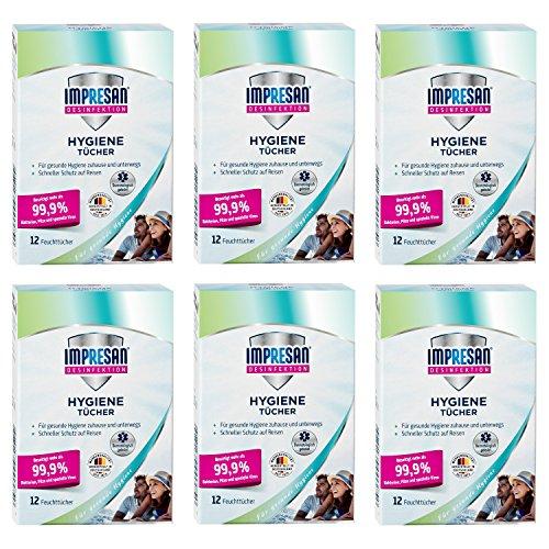 Impresan Hygiene-Tücher - feuchte Desinfektionstücher - Desinfektionsmittel - Oberflächen-Desinfektion - 6 x 12 Stück (Desinfektions-feuchttücher)
