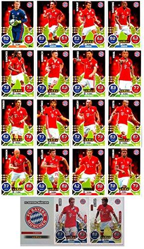 Preisvergleich Produktbild Match Attax Bundesliga 2016 2017 - 19 Karten-Set FC Bayern München Basiskarten Clubkarte Kapitän Starspieler - Deutsch