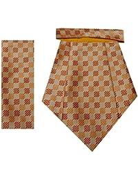 Navaksha Glossy Light Brown Micro Fiber Squares Design Cravat With Pocket Square