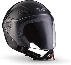 Moto Helmets U52 Gloss Black Jet Helm Motorrad Helm Roller Helm Scooter Helm Bobber Mofa Helm Chopper Retro Cruiser Vintage Pilot Biker Helmet Ece Visier Schnellverschluss Tasche Xs 53 54cm Auto