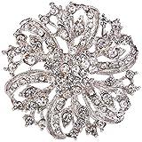 Ever Faith - Cristal Austriaco Clasico Inspirado Flores Para Boda Broche Claro-Plata-Tono A02444-2