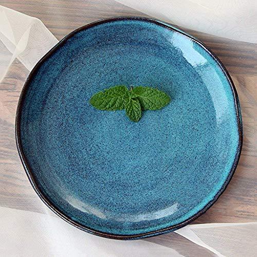 Canju Küchengeschirr/Geschirr/Outdoor/Camping Geschirr Einfache Retro Keramik Unregelmäßige handgemachte Platte Keramik Obstsalat Platte Praktische große Kapazität Frühstücksteller 8,5 Zoll Bla