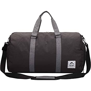 69a29f44f970 Roamlite Travel Holdall - Waterproof Canvas Weekend Overnight Duffle Bag -  Gym Kitbag - 55 cm x30x23-38 litres - Outdoor Gear RL820 (Black Grey)