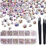 TecUnite 1728 Pieces Nail Crystals AB Nail Art Rhinestones Round Beads Flatback Glass