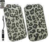Emartbuy® Stylus Pack Per Samsung Galaxy Y Duos S6102 Range Classic Faux Suede Leopard Grigio Diapositive In Sacchetto / Cassa / Manicotto / Holder (Taglia Xl) Con Magnetic Flap & Pull Meccanismo Tab + Metallico Mini Nero Stylus + Protezione Dello Schermo Lcd