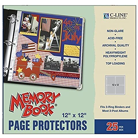C-Line Memory Book 12 x 12 Inch Scrapbook Page Protectors, Non-Glare Poly, Top Load, 25 Pages per Box (62022) by C-Line Products Inc. (English Manual)