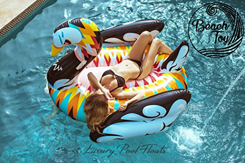 Beach toy ® - materasso gonfiabile piscina, galleggiante piscina gigante cigno multicolore, mega fun party