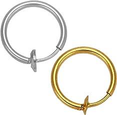 Sorella'Z Golden & Silver Metal Fake Piercing Ear/Nose/Lip/Tongue Unisex Ring Combo