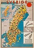 Vintage-Poster, Schweden und die Mitternachtssonne. Karte von Skandinavien aus dem Jahr 1931, auf 250 g/m² Hochglanzpapier, DIN-A3, Nachdruck