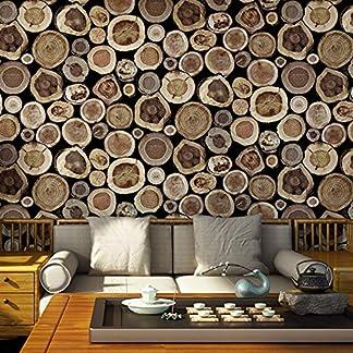 YEEXCD Pila 3D Troncos de Madera Pintado no Autoadhesivo de PVC de Pared Rollo de Papel para Sala de Estar Dormitorio decoración de la Pared,Gris