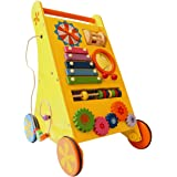 Shumee 8-in-1 Wooden Musical Activity Push Walker (1 Year+) - Build Hand-Eye Coordination with Xylophone, Grooves, Clock…