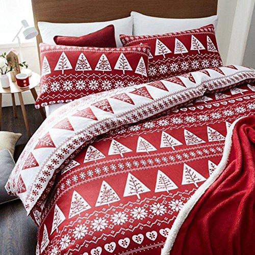 Catherine Lansfield - Parure copripiumino, motivo: alberi (stile nordico), colore rosso, per letto matrimoniale
