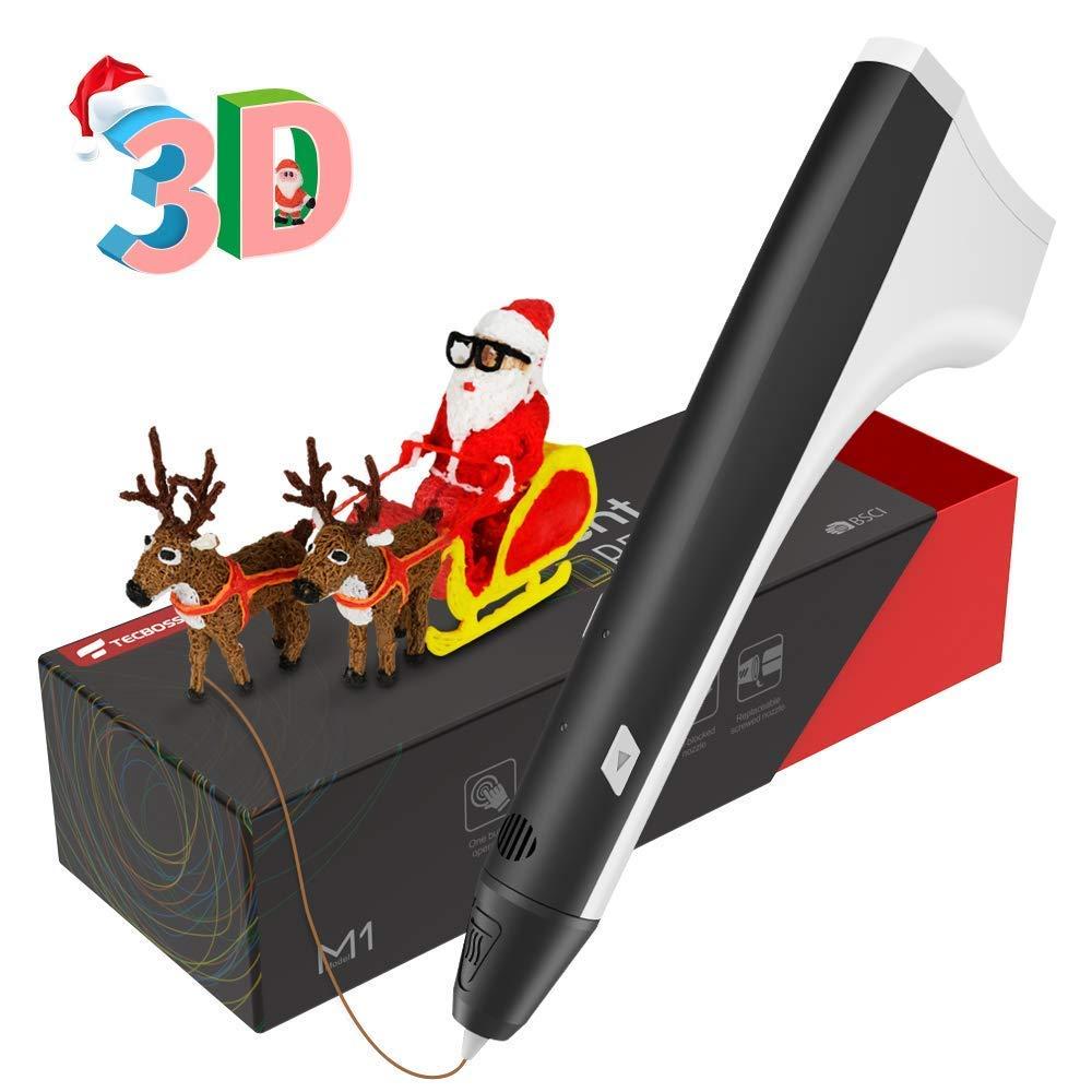 Tecboss Stylo 3D, Stylo d'impression 3D avec 2 PCS filaments PLA Stylo Intelligent 3D avec pour Enfant et Adulte
