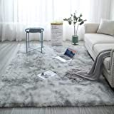 ZXGQF Shaggy Rug For Living Room, Modern Non-Slip Super Soft Long Fluffy Pile Rug 160*200cm Water Grey